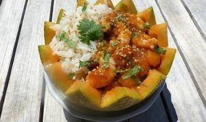 Melon aux crevettes, sauce Teriyaki au sésame et riz basmati