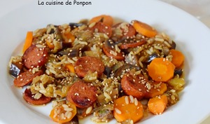 Salade d'aubergines, carottes et chorizo