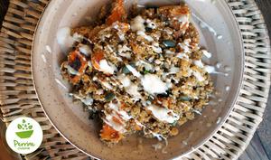 Veggie bowl à la patate douce, lentilles corail et quinoa
