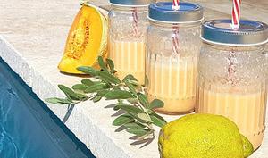 Smoothie melon, citron, lait végétal et huile d'olive