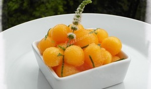 Melon à la menthe sirupeuse