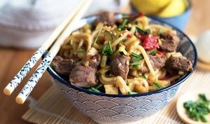 Udons et légumes poêlés sauce barbecue