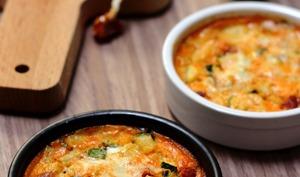 Clafoutis à la courgette, chorizo et parmesan