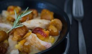 Aiguillettes de poulet aux mirabelles et Gewurztraminer