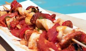 Brochettes de calamars et chorizo