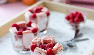 Verrines aux biscuits roses de reims
