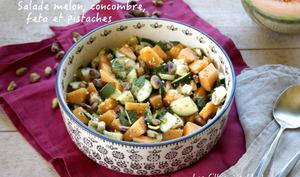 Salade de melon, concombre, feta et pistaches