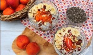 Chia pudding noisette et abricots
