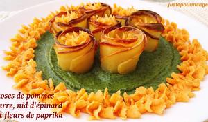 Roses de pommes de terre, nid d'épinards et fleurs de paprika