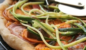Pizza patates douces, betteraves, courgettes