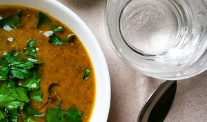 Soupe de lentilles vertes, carottes et cumin