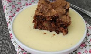 Moelleux chocolat pomme et sa crème anglaise