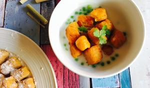 Gnocchis de patate douce, crème de coco à la citronnelle