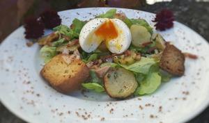 Salade campagnarde pommes de terre lardons et son oeuf mollet