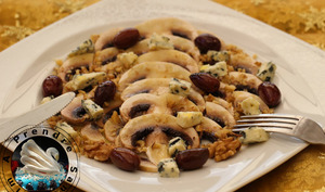 Carpaccio de champignons au Saint-Agur
