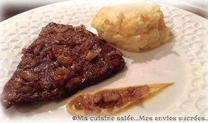 Foie aux échalotes et son écrasé de pommes de terre camembert