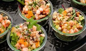 Salade de pommes de terre, langoustines, haddock et granny smith