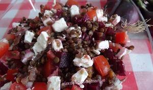 Salade de lentilles à la betterave, tomates, feta et anchois