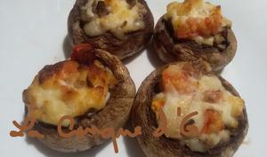 Champignons farcis à la ricotta, tomates et parmesan