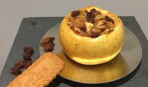 Pomme farcie au spéculoos Et aux raisins