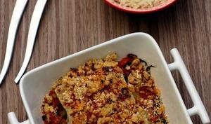 Crumble de poisson au chorizo sur julienne de légumes
