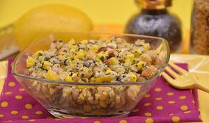 Salade de freekeh citron, graines de chia, coriandre et amandes