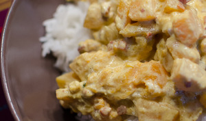 Riz à la courge butternut et aux lardons