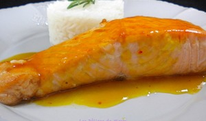 Filets de saumon au caramel d'orange
