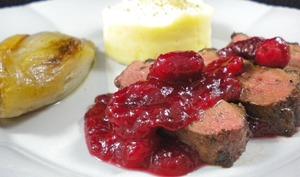Magret de canard, sauce aux cranberries