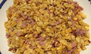 Lentilles corail au bacon et au blé façon risotto