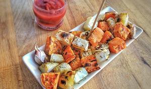 Céleri rave en purée, velouté et salades