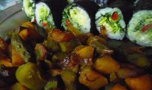 Poêlée vegan d'asperges et de navets confits saveur marine