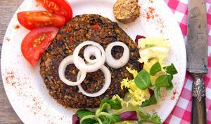 Steak végétal boulgour, pois chiches, champignon