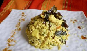 Poulet coco-curry, nouilles et chou chinois