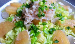 Salade de chou chinois, pamplemousse et crabe