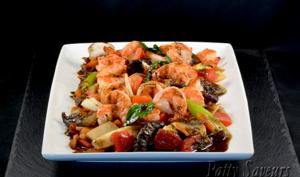 Crevettes Sautées au Poivre/Curry Noir