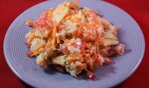 Salade quinoa, crevettes, pamplemousse et grenade