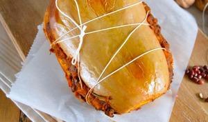 Rôti de butternut farci aux haricots azukis et petits légumes