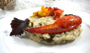 Demi-homard sur risotto aux chanterelles
