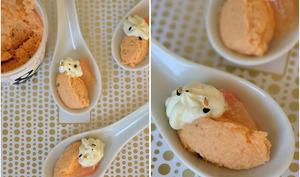 Cuillère apéritive truite, pamplemousse, crème et wasabi