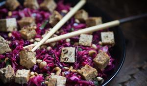 Salade de choucroute crue, chou rouge et betterave