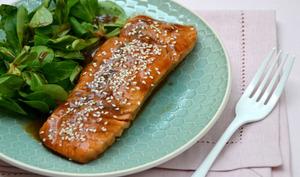 Saumon mi-cuit sauce miel soja
