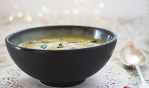 Soupe chou-fleur roti, curcuma et orange