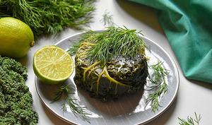 Kale farci cabillaud, aneth, gomasio, gingembre et citron vert