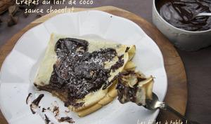 Crêpes au lait de coco, sauce chocolat coco