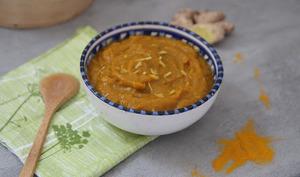 Soupe butternut-patate douce au citron, gingembre et curry
