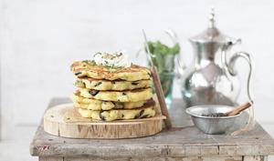 Harchas salés aux lives thym et fromage comme des pan cakes