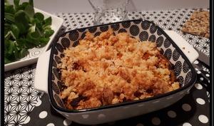 Crumble de butternut, pommes de terre et jambon