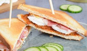 Sandwichs toastés au chèvre, pesto rosso, olive et jambon cru