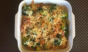 Gratin de brocolis aux lardons